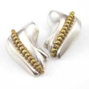 Large Taxco Sterling Brass Modern Earrings
